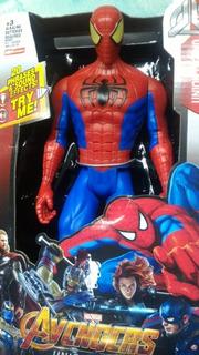 Muñeco Spiderman C Luz Y Sonido 30cm Articulado Hombre Araña