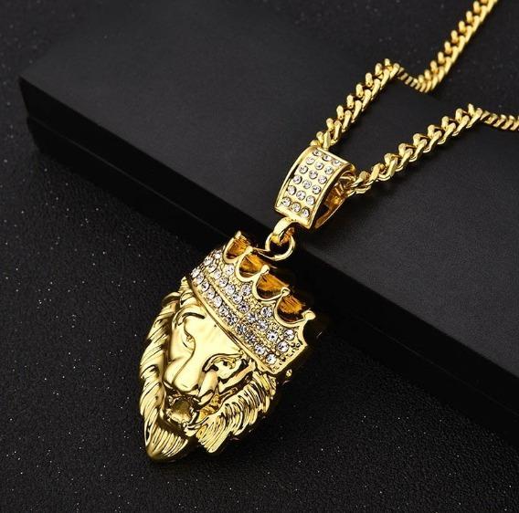 Colar C/ Pingente Leão Grande C/ Strass Cravejado Dourado