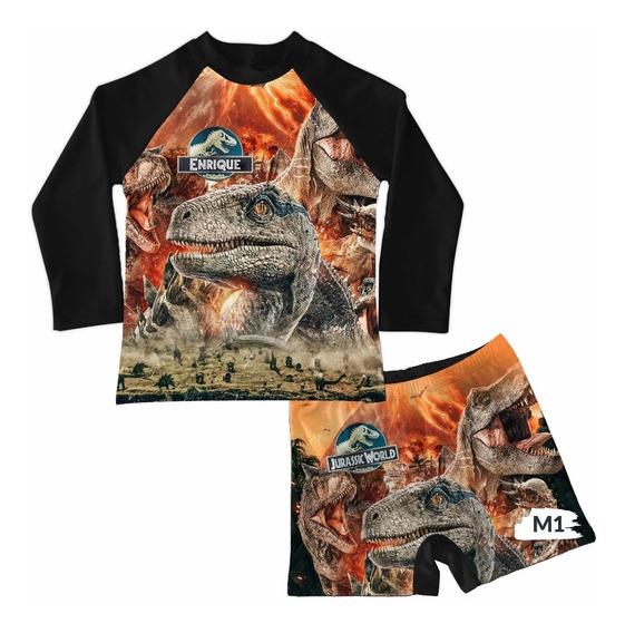 Traje De Baño Niño Conjunto Boxer Jurassic World Park Dinosa