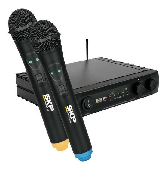 Kit de microfones SKP UHF-261 dinâmico