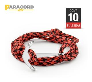10 Pulseras Ancla Paracord Naranja Paracord