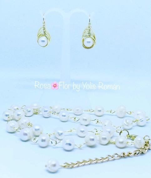 Juego Cadena Con Aretes Perla De Rio Rosa¿flor