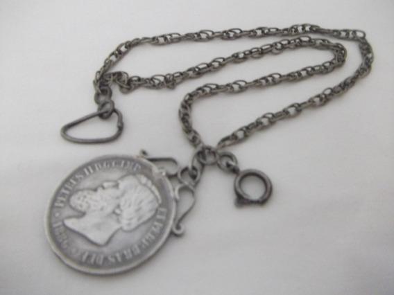 B. Antigo - Corrente Para Relógio Em Prata E Moeda 1000 Réis