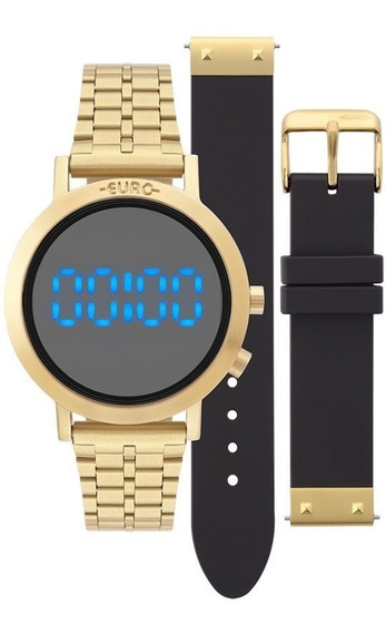 Relógio Feminino Euro Digital Eubj3407aa/t4p Dourado Azul