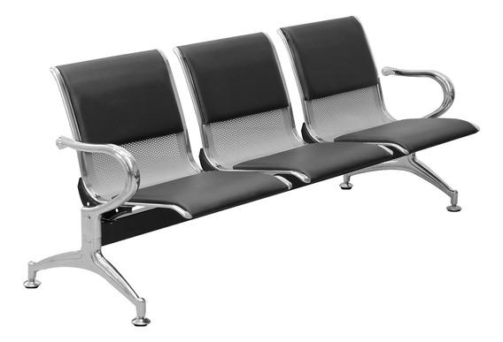 Cadeira Longarina 3 Lugares Cromado Prata Com Almofada Ncl03