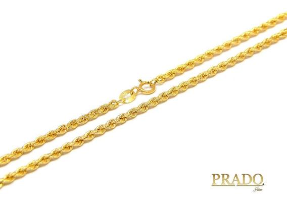 Corrente Colar Cordão Baiano 60cm Em Ouro 18k