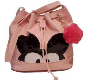 Bolsa Feminina Saco Mickey Com Chaveiro Pompom Grátis