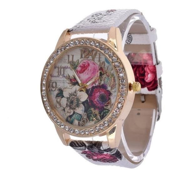 Relógio Feminino Couro Pulso Flor Quartzo Analógico Dial