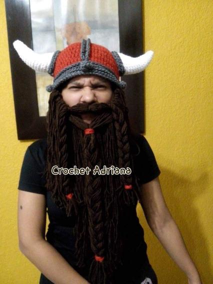 Gorro Vikingo Terracota Crochet Barba Desmontable