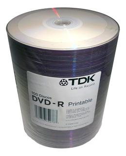 Dvd Virgen Tdk Printable 4,7gb 120min 8x Bulk X 100 Unid.