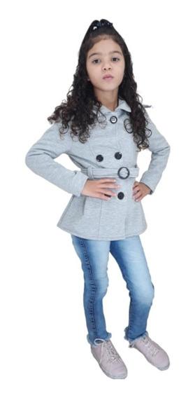 Sobretudo Menina Infantil Soft Bolso Barato Blusa Parka Frio