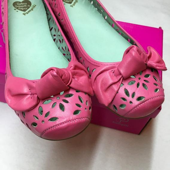 Sapatilha Couro Legítimo Pampili Pink Lady - Pronta Entrega