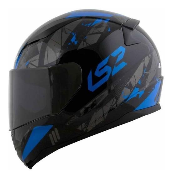 Capacete Ls2 Ff353 Rapid Palimnesis Preto/azul