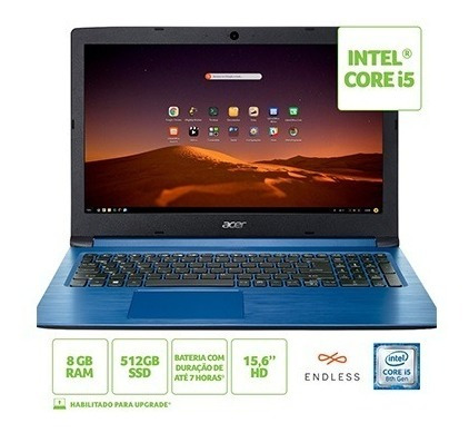 Notebook Acer 15,6 A315-53-c2ss / I5-8250u / 8gb / 512gb Ssd