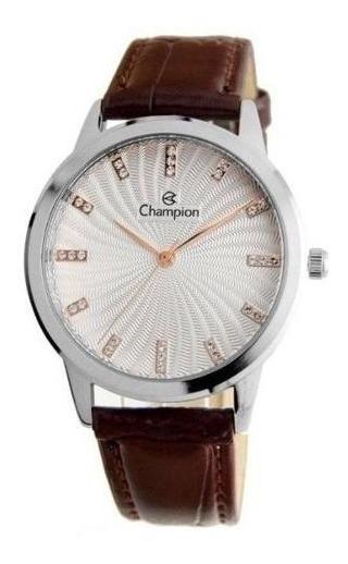 Relógio Champion Feminino Cn28286q Couro Metal Prata Marrom