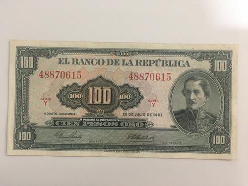 Imagen 1 de 2 de Billete 100 Pesos Colombia 1967