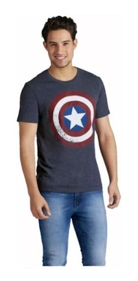 Playera Capitán America Azul Caballero Original Ven.nom
