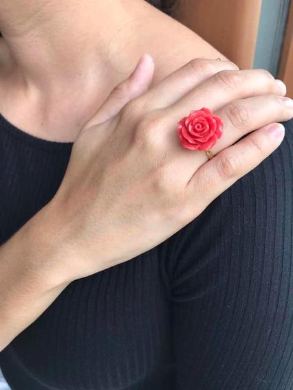 Anel De Ouro 18k Com Flor Em Coral Natural