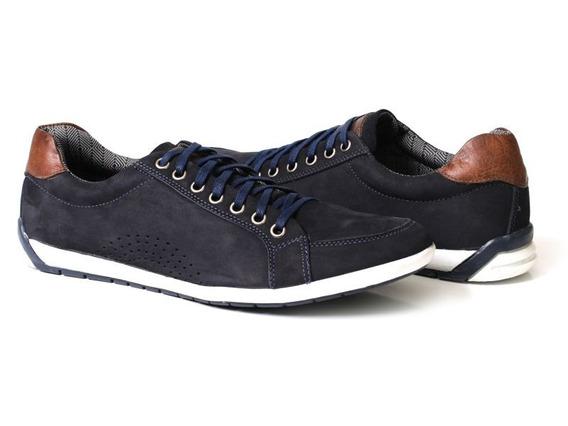 Sapatênis Masculino Casual Style Em Couro Azul Tchwm Shoes