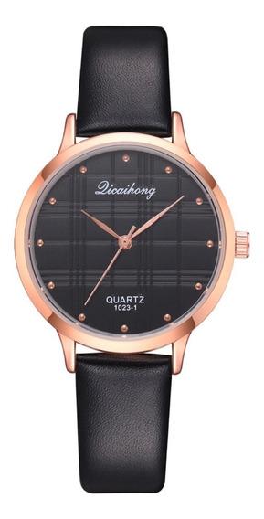 Reloj De Dama Juvenil Extensibles De Piel Quartz Negro