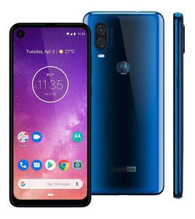 Smartphone Motorola One Vision Xt1970 128gb 4gb Ram 48mp Tela 6.3 Azul Safira