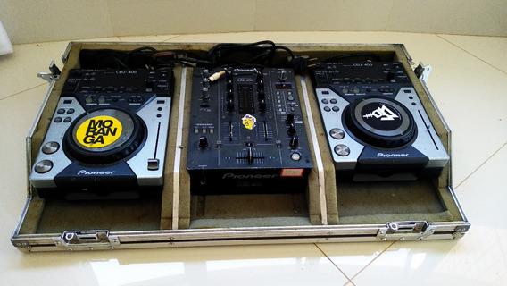 Par De Cdj 400 Pioneer Com Mixer Djm 400 Pioneer, Com Case