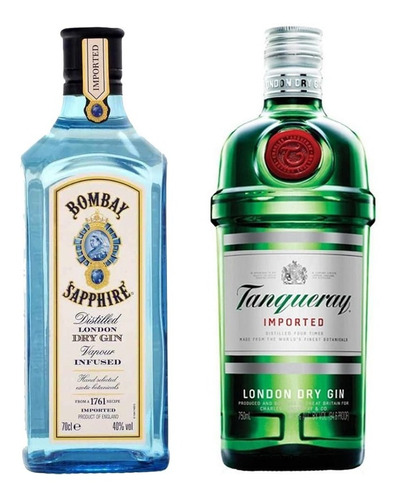 Imagen 1 de 10 de Bombay Sapphire + Tanqueray . Gin . 750 Ml - Tomate Algo® -
