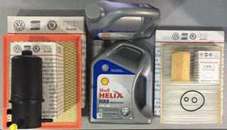 Kit 4 Filtros ( Aceite Aire Habitáculo Combustible 2 Picos ) + 8lt Aceite Shell Volkswagen Amarok Repuestos Originales