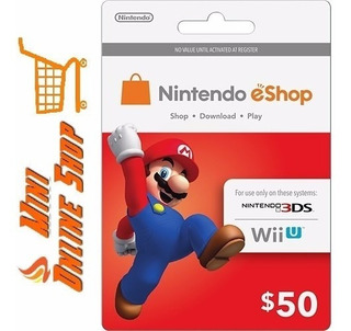 Tarjeta Nintendo Eshop Prepaid Card Usa $50 Saldo 3ds Wii U
