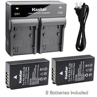 Batería Kastar 2x + Cargador Dual Rápido Para Nikon En-el20