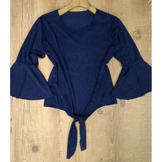 Blusa Flare Suede C/amarração - Azul - Delabela Calçados