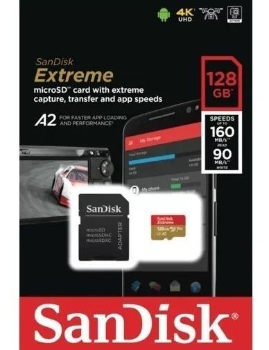 Micro Sd Sandisk Extreme U3 160mb/s 4k A2 128gb Original Lac