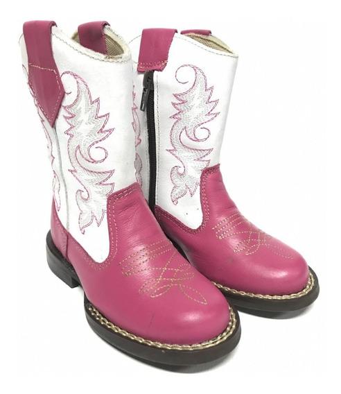 Botinha Bota Texana Country Infantil Para Meninas Rosa Com Zíper 100% Couro - Qualidade E Conforto Incomparáveis!