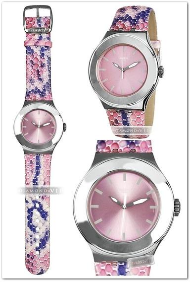 Relógio Feminino Swatch Irony Swiss Original Prata Rosa Roxo