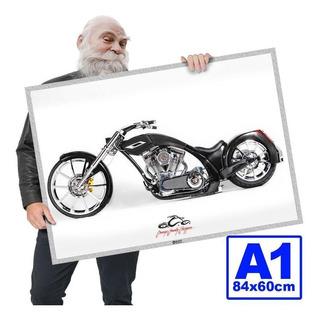 Poster Moto Antiga Chooper Rockposters A1 84x60cm 08