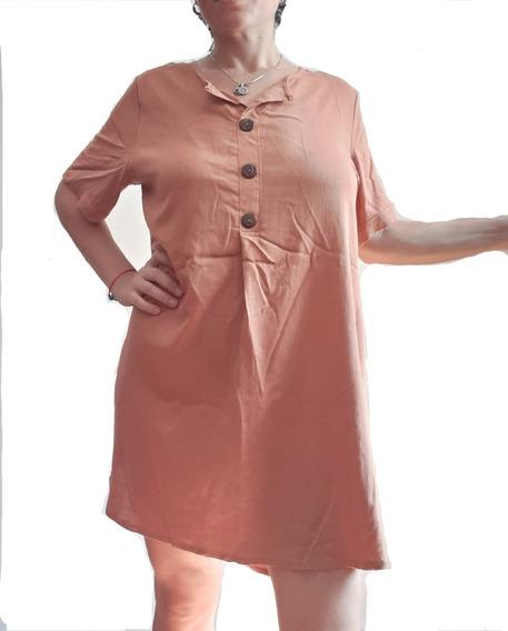 Vestido De Lino Con Botones De Madera, Talles Grandes