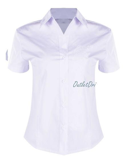 Camisete Feminino Camisa Social Branco Manga Curta Bordado