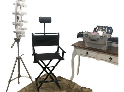 Cadeira Diretor Cinema De Aço Com Apoio Cabeça Média