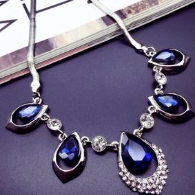 Linda Gargantilha Colar Azul De Cristal