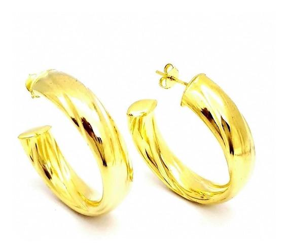 Brincos Argolas Riscadas Banhados Em Ouro 18k 1790