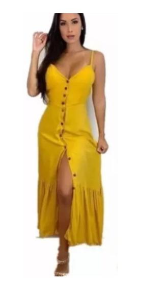 Vestido Longo De Viscolino Com Botoes Moda Blogueira