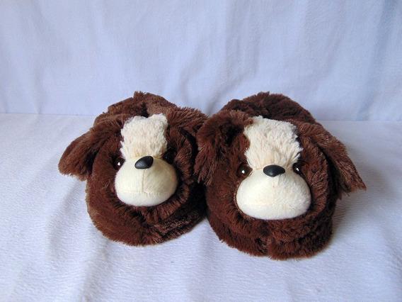 Pantufa Em Pele Cachorro Carinhoso 35-37-39 Frete Grátis