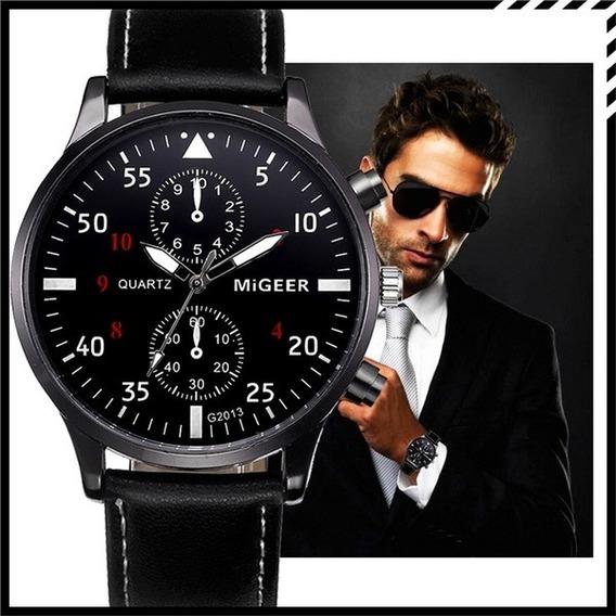 Relógio Business Watches Para Homem Pulseira Em Couro