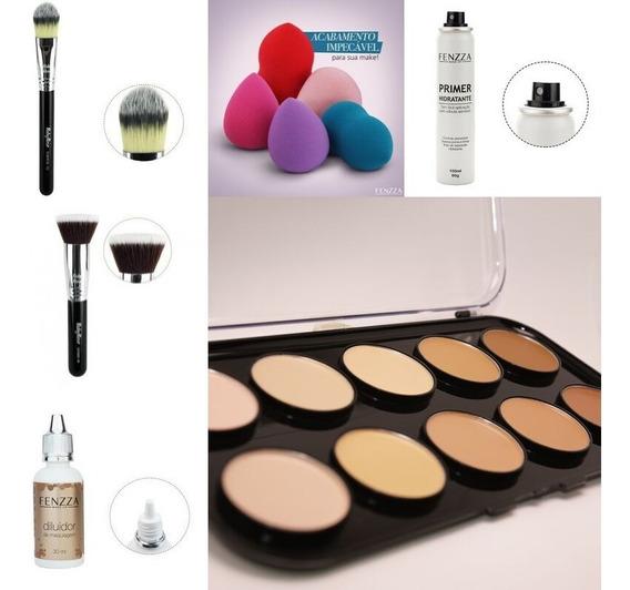 Maquiagem: Pele Completa + Contorno + Iluminador + Pinceis