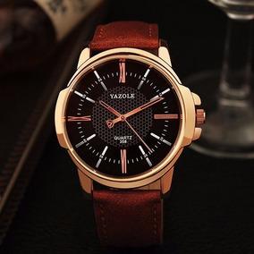 Relógio Quartz Social Masculino Pulseira Em Couro M/ Yazole