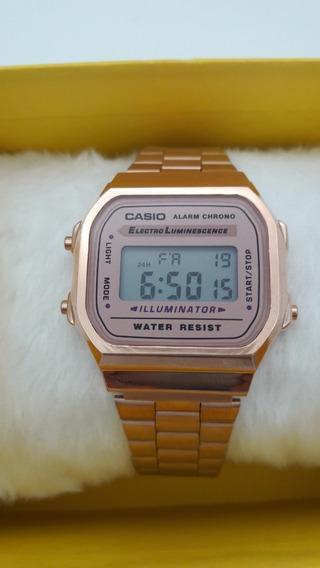 Relógios Feminino Casio Digital Aço Rosa Qualit Fret-grátis
