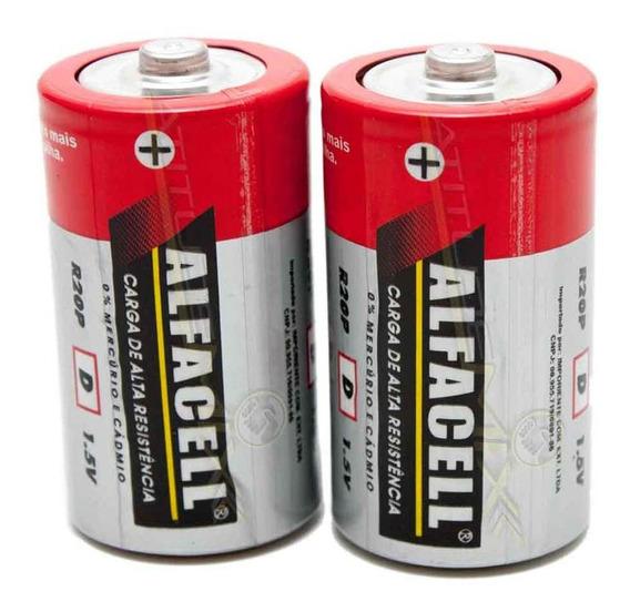 Pilhas D 2 Unidades Para Lanterna Brinquedo Alfacell R20p/2s