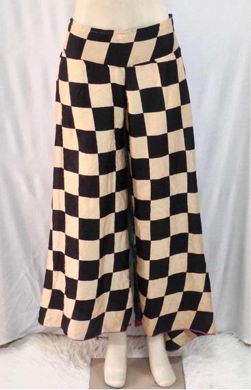 Calça Pantalona Indiana, Em Seda, Estampada, Quadriculada