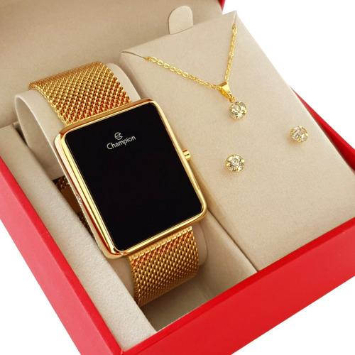 Imagem 1 de 10 de Relógio Champion Feminino Dourado Luxo + Colar E Brincos 18k