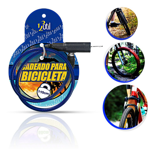 Cadeado Para Bicicleta Com Chave 123útil Original  Cor:azul